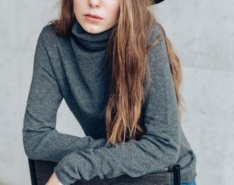 Turtleneck. Pure Cashmere Sweater. Women's Cashmere Turtleneck Pullover.