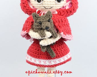 PATTERN: Little Red Riding Hood and Wolf Cub Crochet Amigurumi Dolls