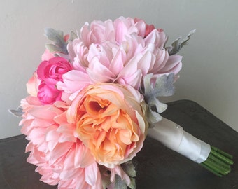 Pink, Coral, Peach, Orange Wedding Bouquet - Dahlia, Peony, Rose, Ranunculus Silk Flower Bouquet - Summer Wedding Flowers Pastel Sorbet