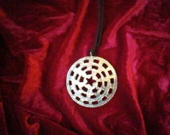 Pulsing Star Art jewelery Costume jewelery Statement Medallion Pendant necklace Big Round handcasted Nordic Viking jewelery Handmade Finland