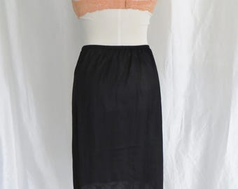 Vintage 70s womens lingerie, half slip, black lace