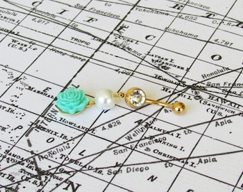 Mint Flower Gold Dangle Belly Button Ring