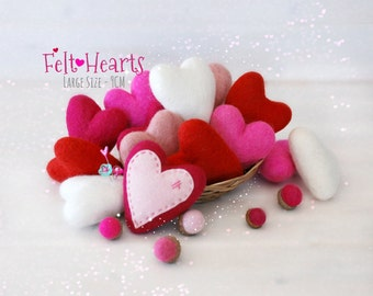 Wool Felt Hearts - Large Wool Felt Hearts - 9cm Wet Felted Hearts - Felted Hearts - Wet Felted Hearts - Large Felt Heart - Choose a Color