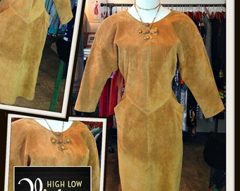 Vintage Camel Suede Dress FREE SHIPPING
