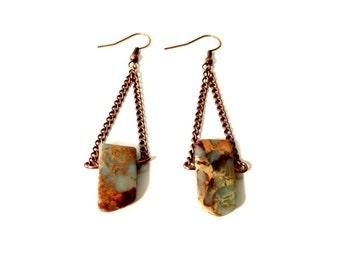 Special Jasper Dangle Earrings Blue Brown Stone Earrings Gift for Her Gypsy Earrings Boho Chic Chandelier Earrings Bohemian Spike Earrings