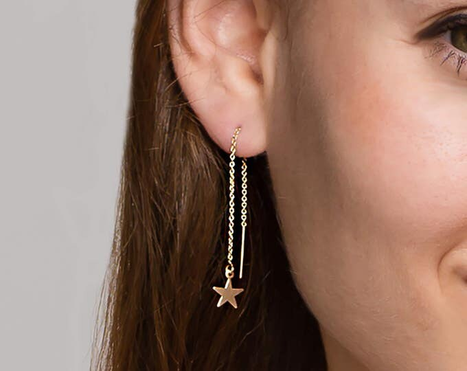 Gold Star Ear Thread Earrings // Dangling Star Hoop Ear Thread // Threader earrings, gold statement hoops // Perfect Gift for Her