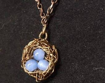 Bird Nest Necklace with Pendant