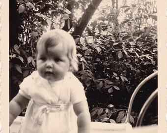 Vintage Snapshot Photo - Cute, Chubby Baby In Garden