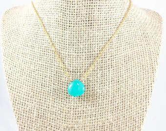 Aqua Stone Necklace, Chalcedony Necklace, Gold Gem Necklace, Gem Drop Necklace, Gemstone Jewelry, Chalcedony Jewelry, Gift for Girlfriend