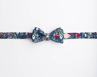 Handmade Floral Bow Tie , Self Tie Floral Bow Tie, Floral Cotton Bow Tie, Blue Floral Bow Tie, Fun floral bow tie, Magnolia Floral Bow Tie