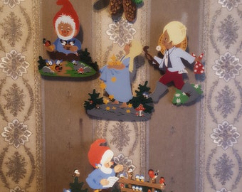 SALE - 10 OFF - 5x Vintage Wood Wallhangings with Bird + Boy + Gnomes + Girl Wall Hangings
