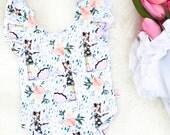 Spring Friends Toddler Leotard - Handmade Girls Leotard - Baby Bodysuit - Flutter Sleeve Leotard - Leotards