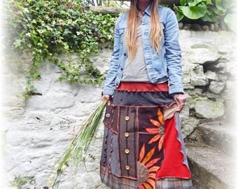 Maxi Skirt, Unique Skirt, Recycled Skirt, Rustic Skirt, Sunflowers, Whimsical, Boho Skirt, Flared Stretch Skirt, Upcycled Skirt, Plus Size