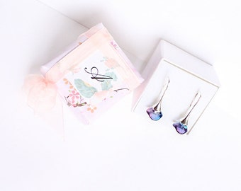 personalized gift bridesmaid earrings blue wedding purple drop earrings gift for flower girl initial earrings purple bridesmaid jewelry K28