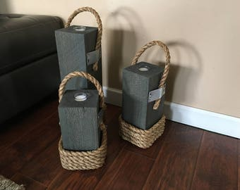 Wooden Candle Holders with Rope Set of 3