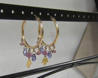 JWK Gold Filled Hoop Earrings with Dangling  Faceted Amethyst Crystals      0092