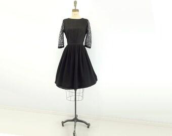 50s Black Lace Dress 1950s Party Dress 50s Cocktail Dress Black Party Dress Lace Party Dress Fit and Flare Dress Full Skirt Dress m