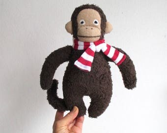 Organic monkey toy, organic plush monkey, stuffed monkey toy, dark brown, beige, stripes, red, white, monkey stuffed animal, jungle, plushie