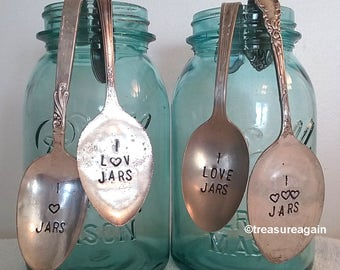 Mason Jar Spoon I Love Jars Vintage Hand Stamped Spoon , Jar Collector Gift, Mason Jar Decor, Mother's Day Gift