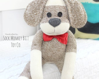 Sock Monkey Doll, Long Eared Puppy Dog