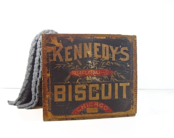 Vintage Wood Crate / Kennedy's Biscuit Wooden Advertising Crate / Rustic Decor