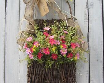 Spring Wreath - Daisy Wreath - Summer Door Wreath - Country Twig Wreath - Pink Wreath - Spring Door Wreath - Wildflower Wreath - Door Basket