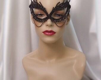 Black Crystal Rhinestone Masquerade Mask, Cat Woman Mask, Bat Girl Mask, Mardi Gras Mask, Goth Wedding Mask