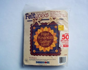 "Vintage Craft Kit, Sunflower Plant Kindness Gather Love, Felt Works Applique, Funky Folk Art, Full 8""x8"" Size, Iron-on Patterns Included"
