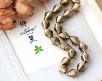 Vintage Brass Beads Plated Bronze Wire Wrap Hollow Bicone Beads 12mm