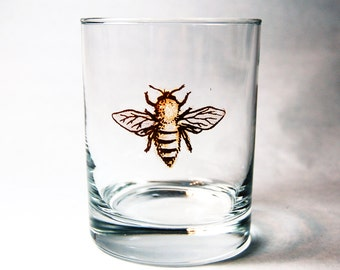 Bee Rocks Glass // Bee Old Fashioned Glass // Honey Bee Gifts // Christmas Gifts for Him and Gifts for Her // Bee Gifts