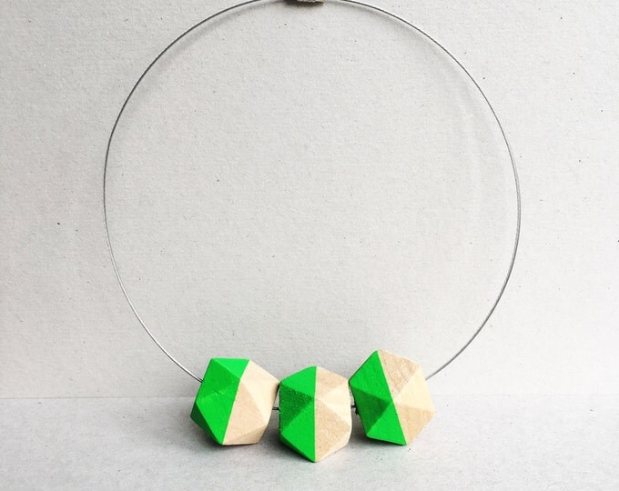 Green geometric minimalist Wooden Bead necklace