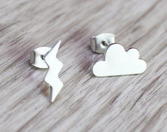 WEATHER Earrings, Rain Earrings, Lightening, Could, Thunder Earrings, Storm Earrings, Rainy Day Earrings, Tiny Earrings, Silver Earrings
