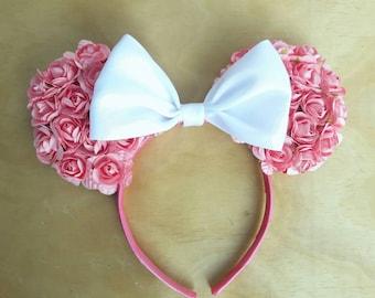 Pink Floral Minnie Ears, Floral Minnie Ears, Pink Flower Ears, Minnie Ears