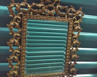 Vintage Brass Mirror, Hollywood Regency Italian, Ornate Wall Decor, 1970s beveled mirror, Cottage Christmas Gift