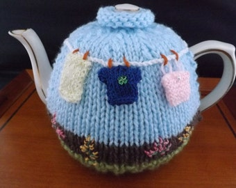"""Tea Cosy. Hand-Knitted """"Washing Day"""" Tea Cosy. Fits Small, Medium or Large Teapot. Chunky Wool. Novelty Design. Ladies Gift, Granny Gift."""