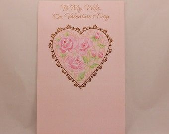 """NEW! Vintage """"Wife"""" Valentine's Day by Freedom. Single Tri-Fold Greeting Card with Envelope."""