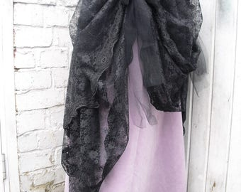 Black Lace bustle Overskirt Gothic Victorian Burlesque Steampunk Whitby Party