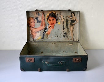 Vintage suitcase PIN UP 50s / luggage cardboard, metal and wooden / mid century decor