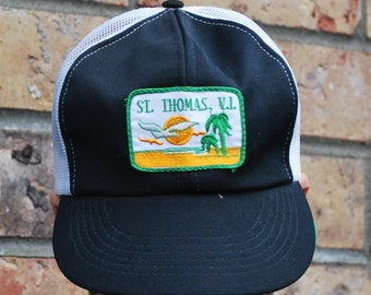 Vintage Truckers Cap St. Tomas Virgin Island PatchWhite black one