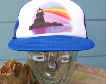 Vintage Truckers Hat Rainbow Lighthouse Graphic