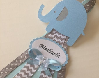 Blue and grey elephant baby shower corsage/Grandma to Be corsage/Elephant baby shower pin/Bow baby shower corsage