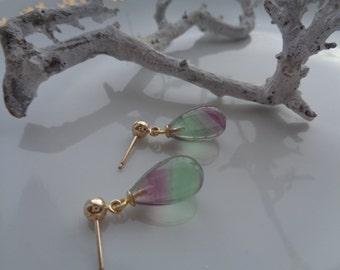 Gold Earrings with 585 gold filled, fluorite, gemstone earrings