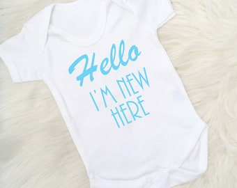 New Baby Vest, Boy Baby Gift, Baby Boy  Birth Announcement, New baby gift, Baby Shower, Made in the UK