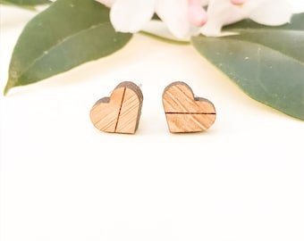 Earrings studs wood hearts with line bamboo plywood and hypoallergenic surgical steel stud backing with butterfly clasp