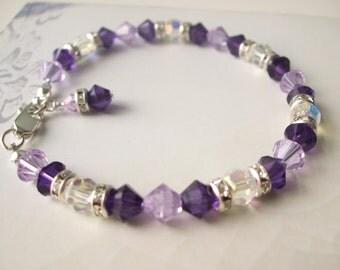 Handmade Purple Swarovski crystal bracelet - Sterling Silver