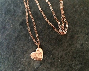 Tiny 24K Rose Gold Fill hammered heart necklace