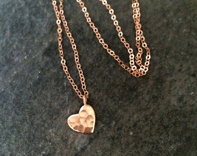 Tiny Rose Gold Fill hammered heart necklace