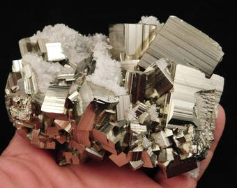 A Big AAA Stepped PYRITE Crystal CUBE Cluster From Huanzala Mine Peru 822gr