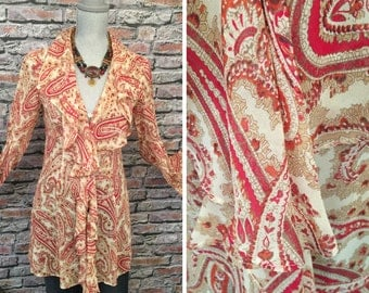 Vintage Express Silk Ruffled Paisley Bell Sleeve Tunic  Blouse  Size Small