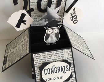 Handmade Graduation Card in a Box, Congratulations Card, Grad Card,